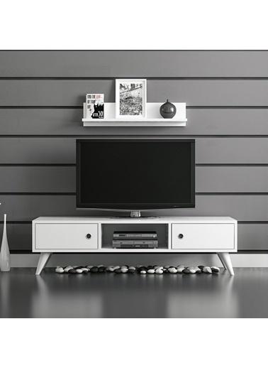 Minar Mobilya Minar Aspen Tv Ünitesi Tv Sehpası Beyaz Beyaz